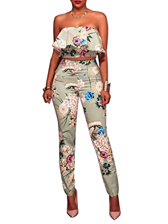 b44beaaecd1 YouSun Women s Floral Print Sleeveless Strapless Top Casual Bodycon Stretch  High Waist Long Pants 2 Pieces