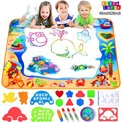 FOYOKEN Magic Doodle Mats Coloring Mat Birthday Learning Toys Gifts for Tolddlers Kids 3 4 5 Years Old Girls Boys Drawing Mat Sea World Large Size 40 x 28 Inch