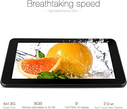iRULU eXpro X1a 9 Inch Quad Core Tablet PC 8GB Nand Flash Google Android 4.4 Kitkat 1024 * 600 Resolution Black