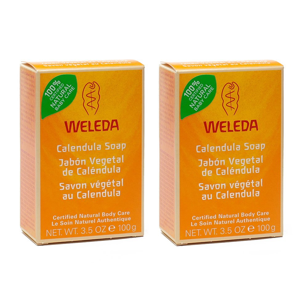 Weleda Certified All Natural Organic Calendula Baby Bar Soap With Mild Face and Body Cleanser For Sensitive Skin And Plant Based Soap, Chamomile, and Pansy, For Kids and Adults, 3.5 oz (Pack of 2) by Weleda