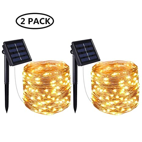 5480c2ac0ff 2 Pack] Solar String Lights, 100 LED 10M/33Ft 8 Modes Solar Fairy ...