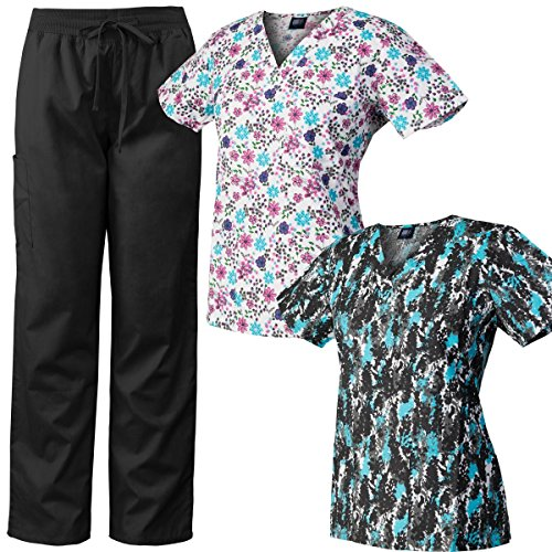 (Medgear 3-Piece Scrubs Combo, 2 V-Neck Printed Scrubs Tops and Scrubs Pants)