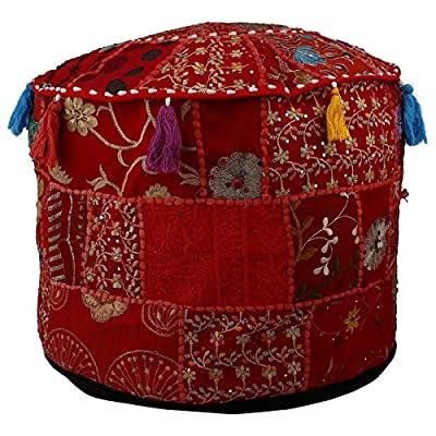 Indian Vintage Ottoman Pouf Cover ,Patchwork Ottoman, Living Room Patchwork Foot Stool Cover,Decorative Handmade Red Colour Home Chair Cover 14x22x22 Inch.