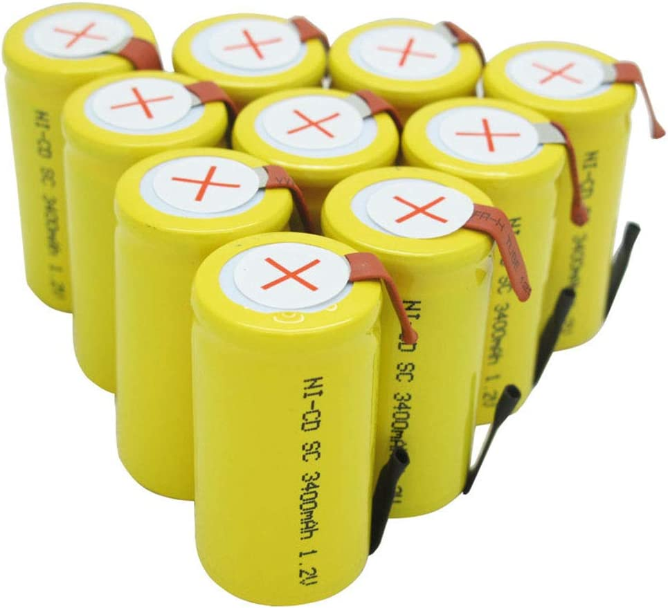 15 Pcs BAOBIAN 1.2V Ni-Cd 3400mAh SubC Sub C Rechargeable Battery Cell with Tabs for Power Tools