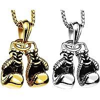 Collar de Guantes de Boxeo Hombre Guantes de Boxeo Colgante Collares Collar de Acero Inoxidable con Cadena, (Oro, Plata)