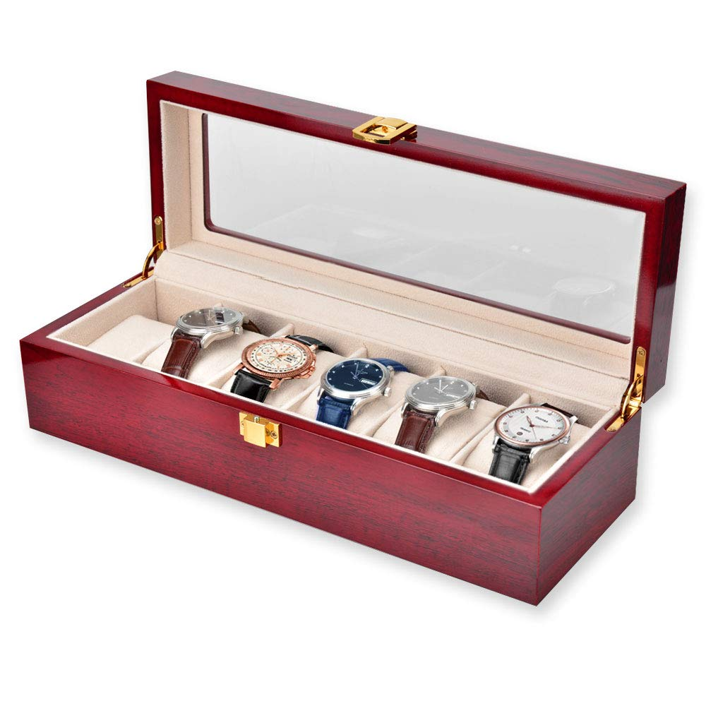 OTraki Wood Watch Box 6 Slot with Glass Top Watch Organizer for Men Watch Holder Display Case Metal Buckle, Jewelry Accessories Decorative Storage Box