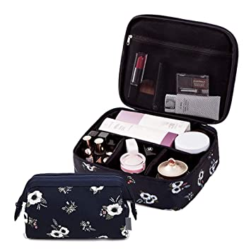 Amazon.com: Juego de 2 bolsas de maquillaje para viaje ...