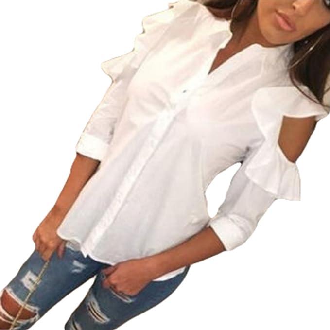 Juleya Blusas Mujer Chifón Camisas Mujeres V Escote Manga Larga Blusas Blusa Camisa Holgada de Color