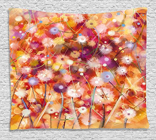 Scroll Room Divider - Ambesonne Watercolor Flower Home Decor Tapestry by, Pastel Floral Blooms Spring Season Plants Scroll Painting, Wall Hanging for Bedroom Living Room Dorm, 60WX40L Inches, Orange Red