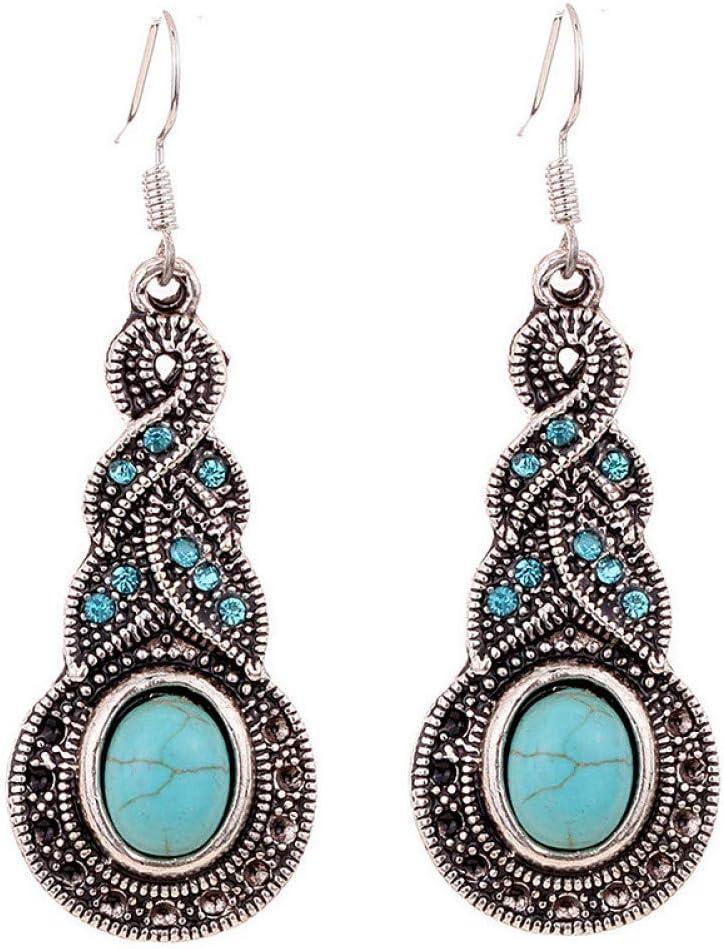 BGBG Pendientes para Mujer Pendientes de Turquesa para Mujer Bohemio Elegante Estilo Occidental Pendientes chapados en Plata Joyas Azul para Fiesta Diario Casual