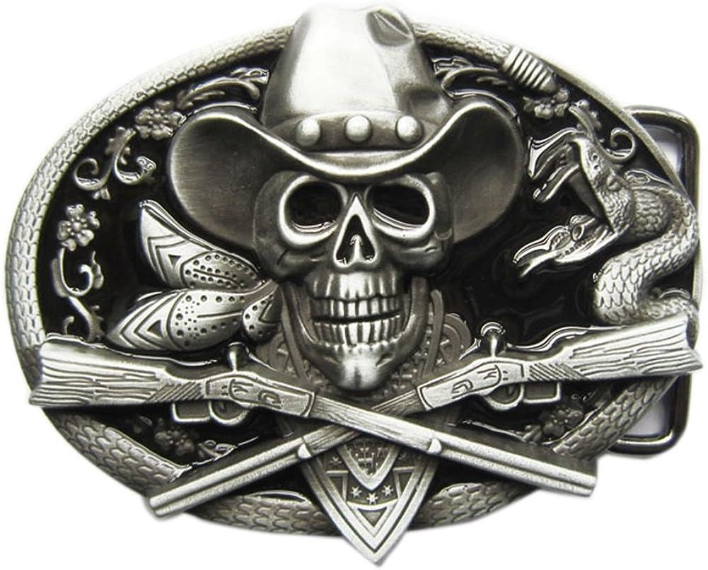 New Vintage Rodeo Skull Cowboy Black Enamel Belt Buckle also Stock in US