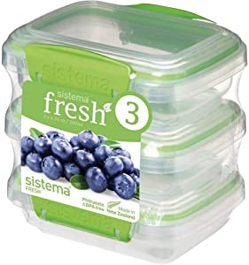 Sistema Fresh Collection .8 Cup Food Storage Containers (3 Pack), 6.7 oz, Clear/Lime Green