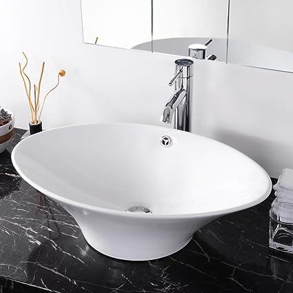 Aquaterior Artistic Oval Bathroom Porcelain Vessel Sink White Ceramic Basin  + Free Drain