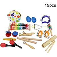 Xuendao 19Pcs/Set Wooden Tambourine Xylophone Sand Hammer Music Instrument Education Toy for Kids Preschool Educational, Musical Toys Set for Boys and Girls