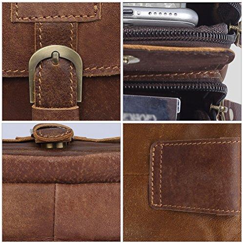 VBIGER Men Cowhide Waist Bag Retro Waist Pack Fanny Bag Cellphone Waist Pouch by VBIGER (Image #4)