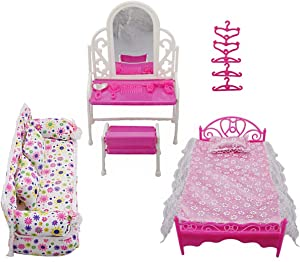 Tabpole Princess Furniture Accessories Kids Gift 1xDresser Set + 1x Sofa Set+1xBed Set + 5X Hangers for Barbie Doll 8 Items/lot