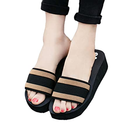 101c694e3167 Sunbona Women Summer Fashion Striped Open Toe Non-Slip Sandals High  Platform Heel Wedge Slipper