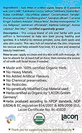 KUMKUMADI Taila Bio Öl (100 ml Kräuter Öl, Öl zum verjüngen der Haut ...
