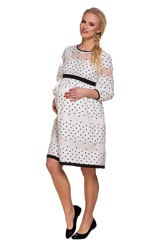 My Tummy Maternity Dress Chic Amelia White Lace Black Polka