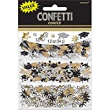 Amscan Graduation Party Caps and Stars Confetti Decoration (Pack Of 1), Black/Silver/Gold, 1.2 oz
