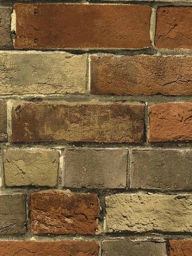 Wallpaper Faux Smooth Rust Tuscan Brick Wall, Looks Real Up! (Wall Liners compare prices)