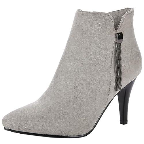 RAZAMAZA Zapatos Moda Botines de Vestir Tacon Alto para Mujer: Amazon.es: Zapatos y complementos