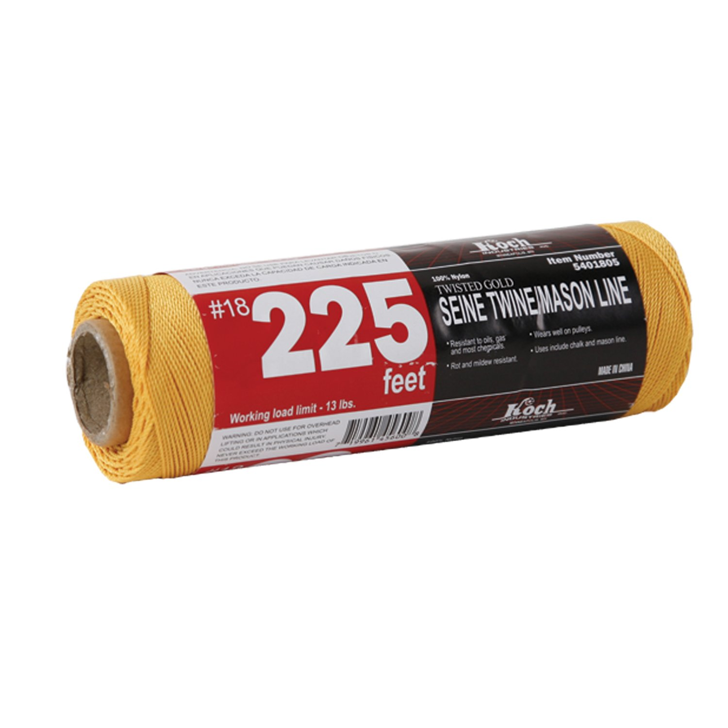 Koch Industries 5401805 Tube Twisted Mason Line, Number-18 by 225-Feet, Gold by Koch Industries