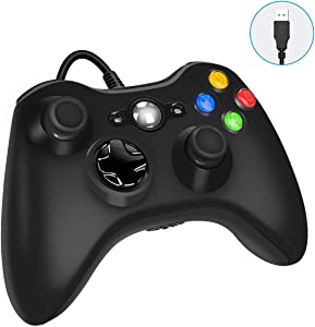 Xbox 360 Wired Game Controller, YAEYE USB Wired Gamepad Controller for Microsoft Xbox 360, PC Windows 7,8,10 with Dual-Vibration Turbo, Trigger Buttons (Black)