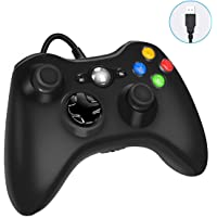 Xbox 360 Wired Game Controller, USB Wired Gamepad Controller for Microsoft Xbox 360, PC Windows 7,8,10 with Dual-Vibration Turbo, Trigger Buttons - Black