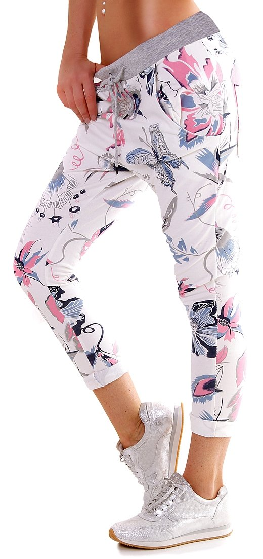 5People!s Italy Elastische Baumwoll Jogging Baggy Hose Butterfly - Size 36-38 - Flanking Style f4y WN_02400