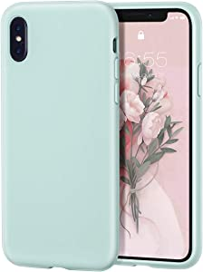 MILPROX iPhone X/Xs Silicone Series Liquid Silicone Gel Rubber Slim Fit Case with Soft Microfiber Cloth Lining Cushion for iPhone X/iPhone Xs-Mint