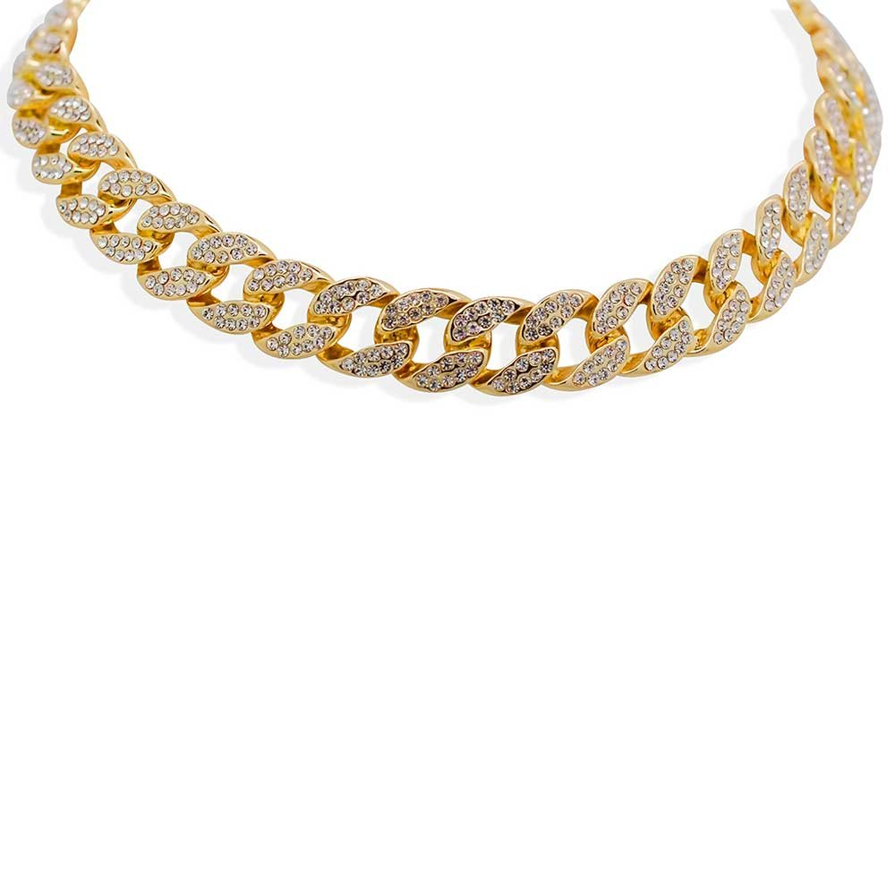 Yellow Gold-Tone Iced Out Hip Hop Bling 2 Row Simulated Crystal Cuban Linked 16'' Necklace