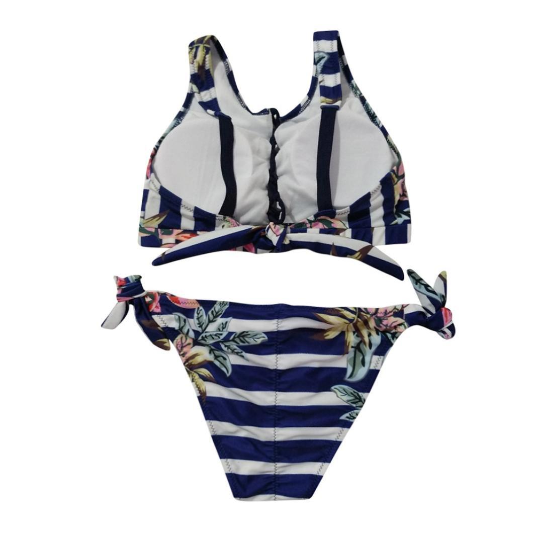 Damen Bikini Set Push up Schwimmanzug Zweiteiligen Gestreifte Bandage Beachwear