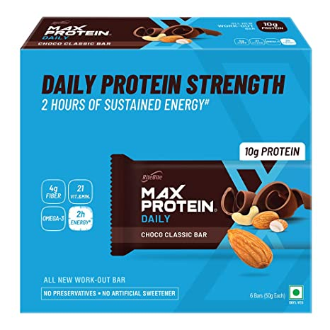 Ritebite Daily Choco Classic Energy Bars 300g Pack of 6 (50g x 6