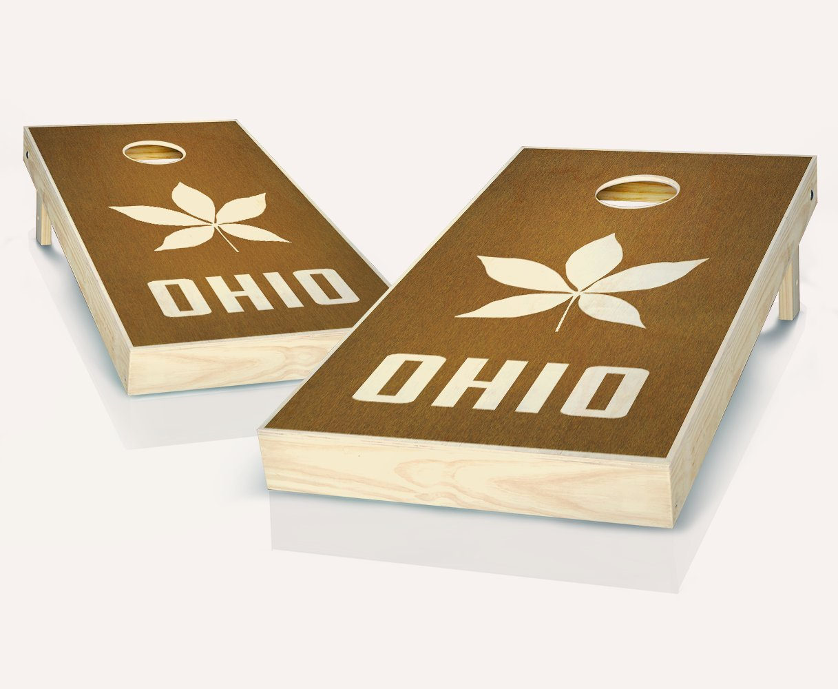 Tailgating Pros Ohio Buckeye Chestnut Stained Cornhole Boards withのセット8 Cornhole Bags B07C8HDLQ7