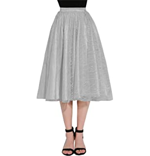 3cd4648792 Ruiyuhong Women's Tulle Midi Skirt Flared Pleated A-Line Half Skirt for  Party and Daily