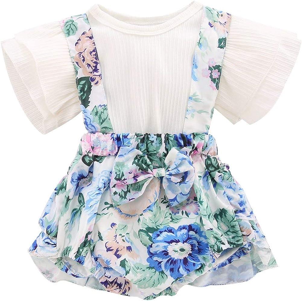 Baby Girls Romper Knit Ruffle Short Sleeve Overalls Jumpsuit Romper Princess Floral Suspenders Skirts Set