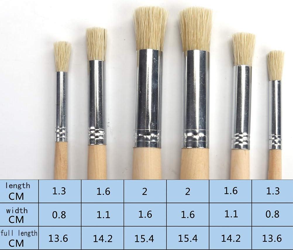 SUPVOX 6/pcs Artiste Peinture brosses Brosse /à Peinture Fine pour Manche en Bois Pinceau de Peinture pour Acrylique Aquarelle Peinture /à lhuile