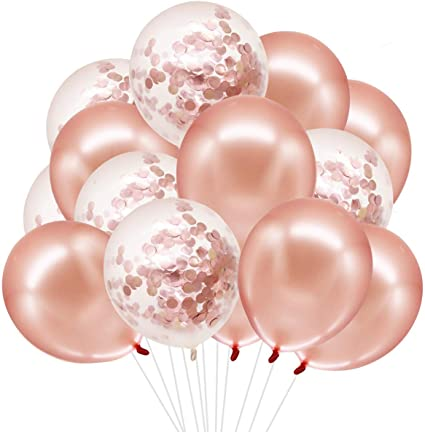 Rose Gold Confetti, Rose Gold, White Pearl and 2 Pieces Gold Ribbon for Party Wedding Decoration 74 Pieces Rose Gold Balloons 4 Pieces 24 Inch Foil 4D Balloons 68 Pieces 12 Inch Latex Balloons