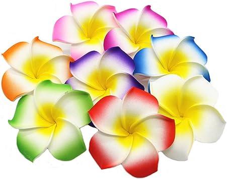 100x Wedding Hawaiian Frangipani Foam Plumeria Flower Craft Head Orange