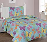 GorgeousHome BUTTERFLY TURQUOISE Design Bedding Complete Set For Girls (2PC TWIN QUILT SET)