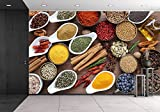 wall26 - Flavorful, Colorful Spices in Ceramic and Metal Bowls on Wooden Background. - Removable Wall Mural | Self-adhesive Large Wallpaper - 100x144 inches