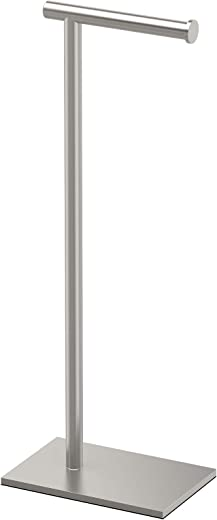 Gatco 1431SN Modern Rectangle Base Freestanding Toilet Paper Holder, 22.25-inch, Satin Nickel