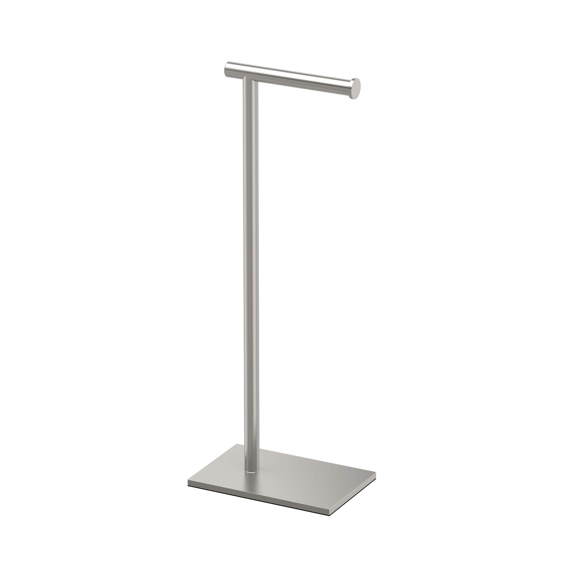 Gatco 1431SN Modern Rectangle Base Freestanding Toilet Paper Holder, 22.25-inch, Satin Nickel