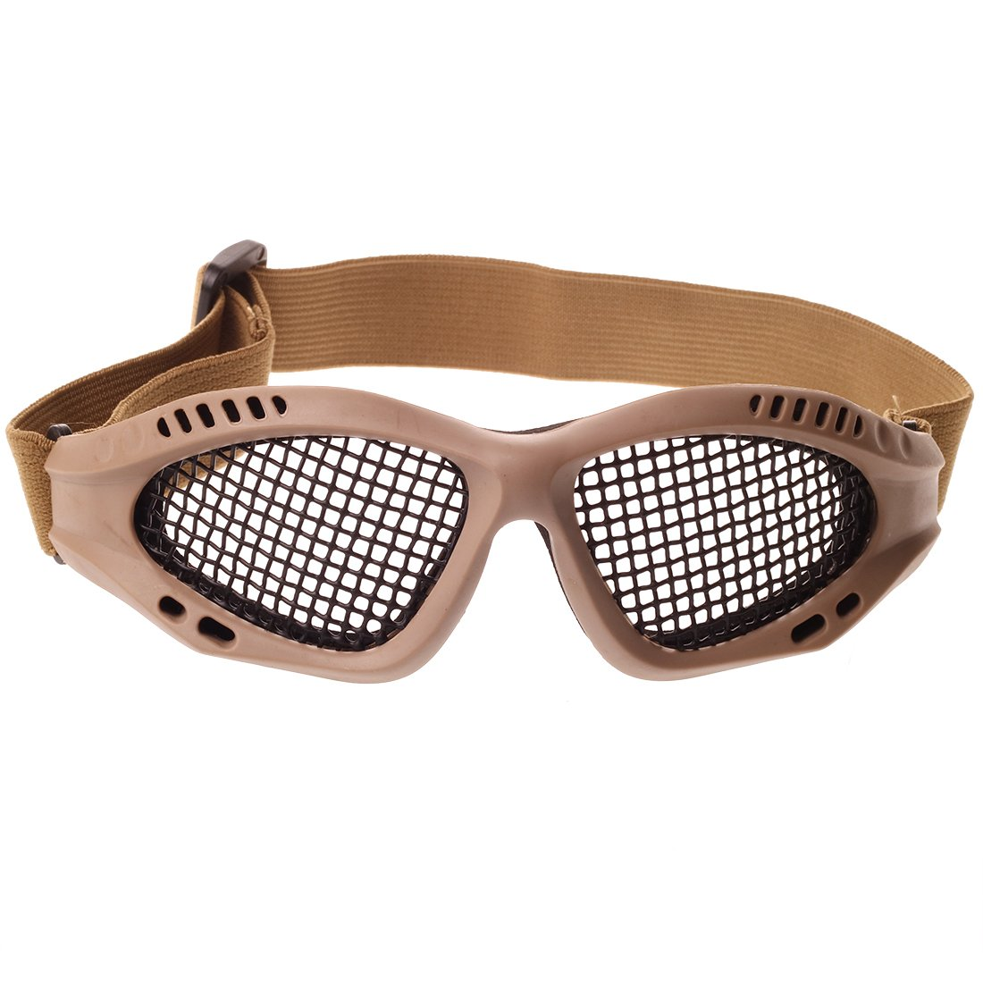 Yapeach Mesh Net Eyes Protector Glasses, Safety Eye Protection for Outdoor Sports Wood color