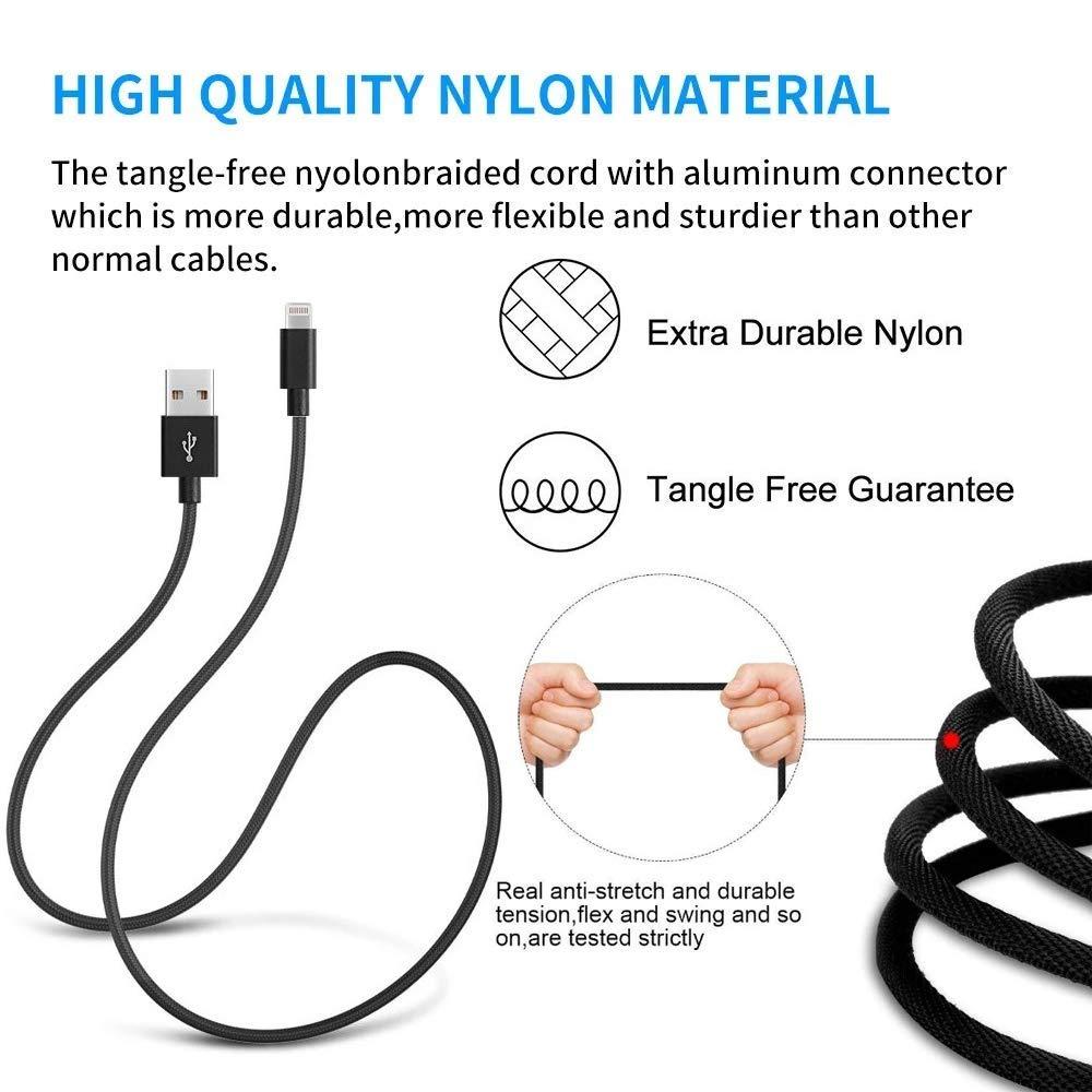 Charge Rapide C/âble iPhone USB Nylon Tress/é en Fibre pour iPhone XS//XS Max//XR//X//8//8 Plus//7//7 Plus//6s//6s Plus//6//6 Plus//5s//5//5c//SE et iPad Lot de 3 TaoMorall Chargeur iPhone 2M