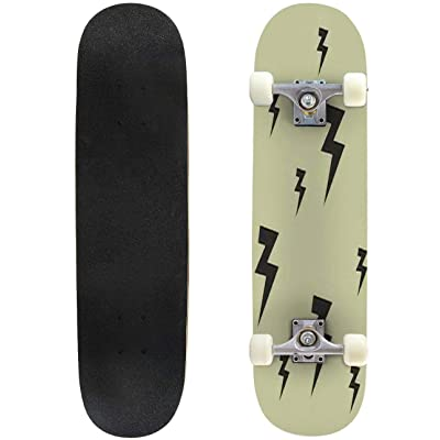 Classic Concave Skateboard Lightning Sign Black Pattern Vector Longboard Maple Deck Extreme Sports and Outdoors Double Kick Trick for Beginners and Professionals : Sports & Outdoors