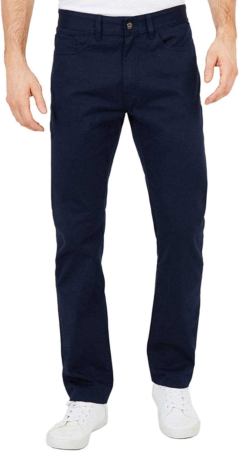 Nautica Mens Classic Fit Flat Front Straight 5 Pocket Pant