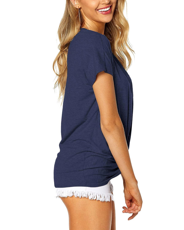 YOINS Damen Tshirt Oberteile Pulli Langarmshirt Rundhals Ausschnitt Hemd Sweatshirt Lose Asymmetrisch Jumper Bluse Tops