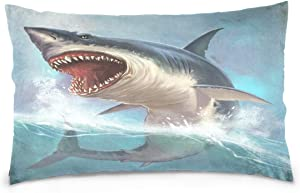 ALAZA Ocean Shark Cotton Standard Size Pillowcase 26 X 20 Inches Twin Sides, Marine Animal Shark Pillow Case Sham Cover Protector Decorative for Couch Ded